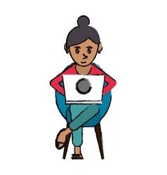 Cartoon beutiful girl using laptop sitting vector