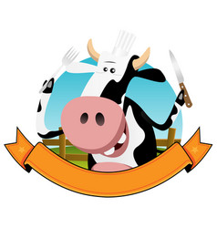 cartoon cow banner vector image