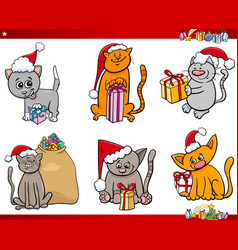 cats on christmas time cartoon set vector image