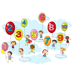 Counting numbers with kids on balloons vector