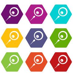 Donor sperm icon set color hexahedron vector
