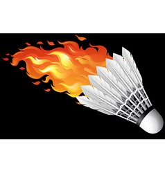 Flaming shuttlecock on black vector