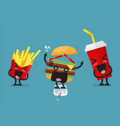 Funny laughing french fries and soft drink vector