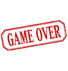 Game over square red grunge vintage isolated label vector