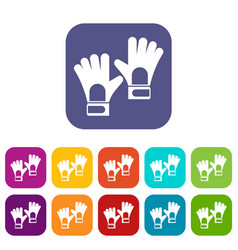 Gloves of goalkeeper icons set flat vector