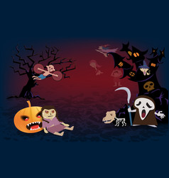 halloween backgroundspooky many character of ghost vector image