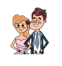 Happy couple together and romantic celebration vector