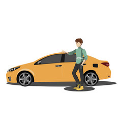 happy man to the car vector image