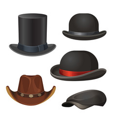 hat for men set isolated on white vector image vector image