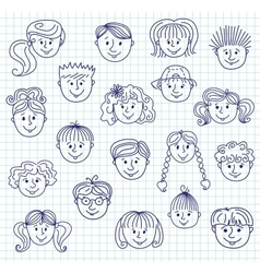 hildren doodle faces vector image vector image