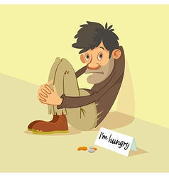Homeless begs for money vector image