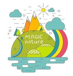 Magic nature mountains river sun concept vector