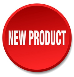 New product red round flat isolated push button vector
