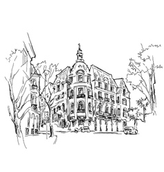 Old town sketch drawing vector