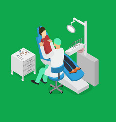 patient and dentist doctor appointment isometric vector image vector image
