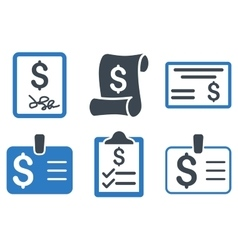 Payment cheque flat icons vector