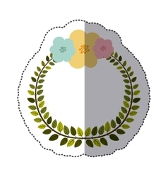 Sticker colorful arch of leaves with pastel vector