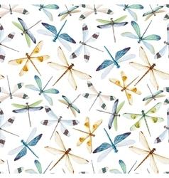 Watercolor dragonflies pattern vector