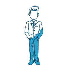 Young business man standing with his hands vector