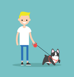 Young smiling blond boy walking the dog flat vector