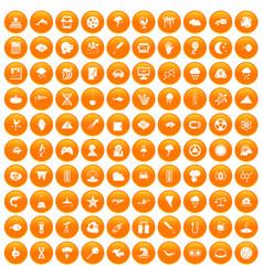 100 research icons set orange vector