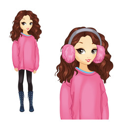 Girl in oversize pink sweater vector
