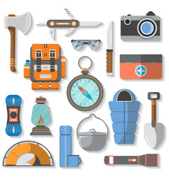 Tourist and travel equipment icon set vector