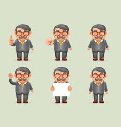 Businessman different actions man mustache geek vector