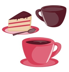 Isolated cup and cake set vector