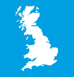 Map of great britain icon white vector