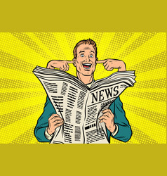 Businessman reads the press and covering her ears vector