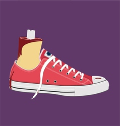 Bloody human body part foot wear on sneaker vector