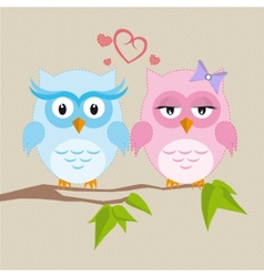 Couple of owls in love vector