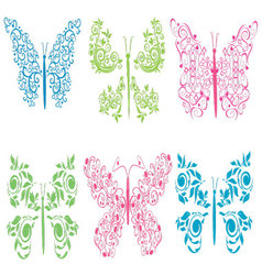 Ornament colored butterflies vector