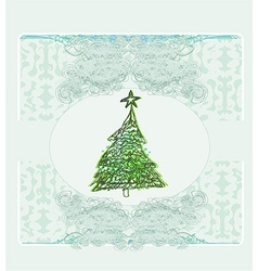 Abstract retro christmas tree card vector