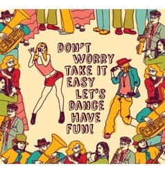 Dancing and music people positive poster color vector