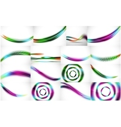 Set of wave flowing blurred motion abstract vector