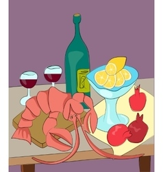Lobster with wine lemon pomegranates still life vector