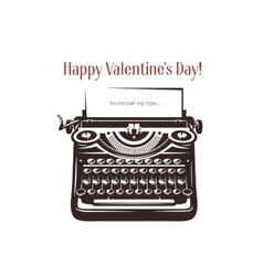 Valentine day card vintage typewriter with text vector
