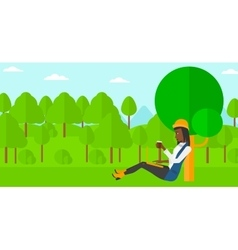 Woman using laptop for education vector