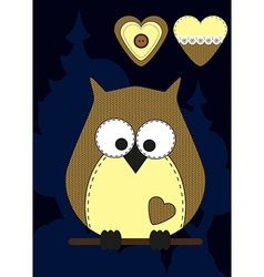 Cute cartoon owl in flat design for greeting card vector