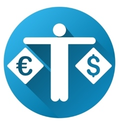 Currency compare person gradient round icon vector