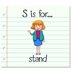 Flashcard letter s is for stand vector