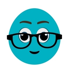Blue cartoon face with eyeglasses graphic vector
