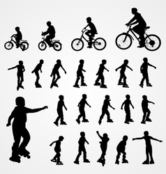 Big set silhouette of roller skating and bicyclist vector