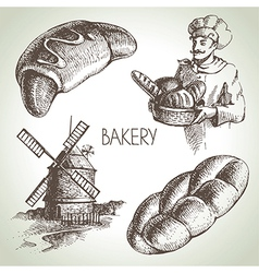 Bakery sketch icon set vector image vector image