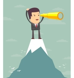 Businessman stand on top of mountain using vector