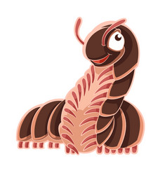 Cartoon smiling millipede vector