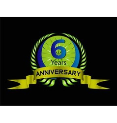 Celebration Anniversary golden laurel wreath 6 ye vector image