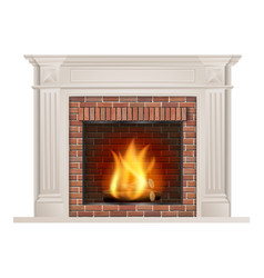 Classic fireplace with red brick and furnace vector